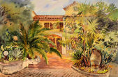 Watercolor painting of the building in St. Tropez. — Stock Photo