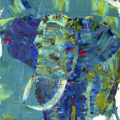 An elephant painted with acrylics on canvas. I painted it — 图库照片