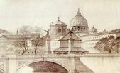 Bazilika san pietro malované tužkou, — Stock fotografie