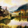 Mountain landscape with lake painted by watercolor — Stock Photo