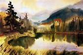 Berglandschaft mit See von Wasserfarben gemalt — Stockfoto