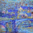 Foto Stock: Abstract painting with blue bridge.