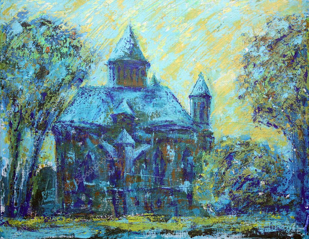 Armenian Church in the city of Chernivtsi. I painted this painting with acrylics on canvas.  Stock Photo #8311574