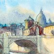 Watercolor painting of the Basilica Sant Pietro — Stock Photo