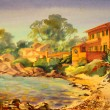 Watercolor painting of Cote d'Azur, France. - Stock Photo