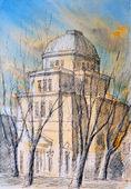 Watercolor of Roman Synagogue — Stock Photo
