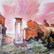 Hand Painted watercolor illustration of the Theatre of Marcellus in Rome. — Stock Photo #8375314