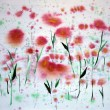 Stock Photo: Abstract red flowers painting on paper with watercolors.