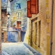 Watercolor of old street in France. — Stock Photo #8408043