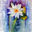 Water Lily painted with oil on cardboard. — Stock Photo