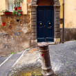 Exterior of the typical old door and fountain in Rome, Italy. - Zdjcie stockowe