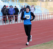 Boy at the 3,000 meters race walk — Stock Photo