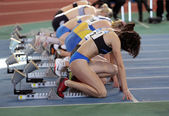 Unidentified girls on the start of the 60 meters dash — Stock Photo