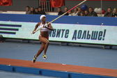 Yarisley Silva - Cuban pole vaulter wins second place in the pole vault competition on Samsung Pole Vault Stars — Stock Photo