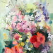 Stock Photo: Watercolor painting of beautiful flowers.