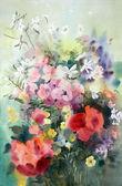 Pintura em aquarela das belas flores. — Foto Stock