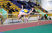 Mohnuk Anastasia competes in high jump — Stock Photo