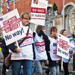 Stock Photo: Strikers action against pension cuts