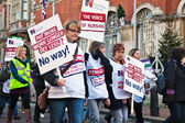 Strikers action against pension cuts — Stock Photo