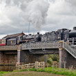 Stock Photo: Double steam crossing river