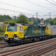 Heavy rail freight loco and containers - Stockfoto