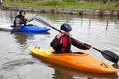 Kayakers paddling — Stock Photo