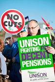 Unie werknemers op staking — Stockfoto