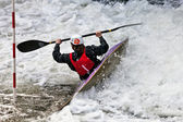 White water kayak slalom — Stock Photo