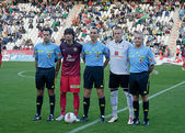 Players and referees before match league Cordoba vs Hercules — Stock Photo
