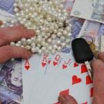 Grabbing big poker win — Stock Photo