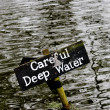 Deep water warning sign — Stock Photo #10495501