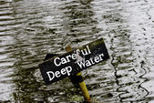 Deep water warning sign — Stock Photo