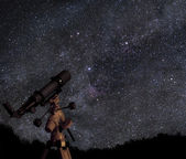 Telescope and starry sky — Stock Photo