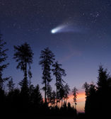 A comet in the evening sky — Stockfoto