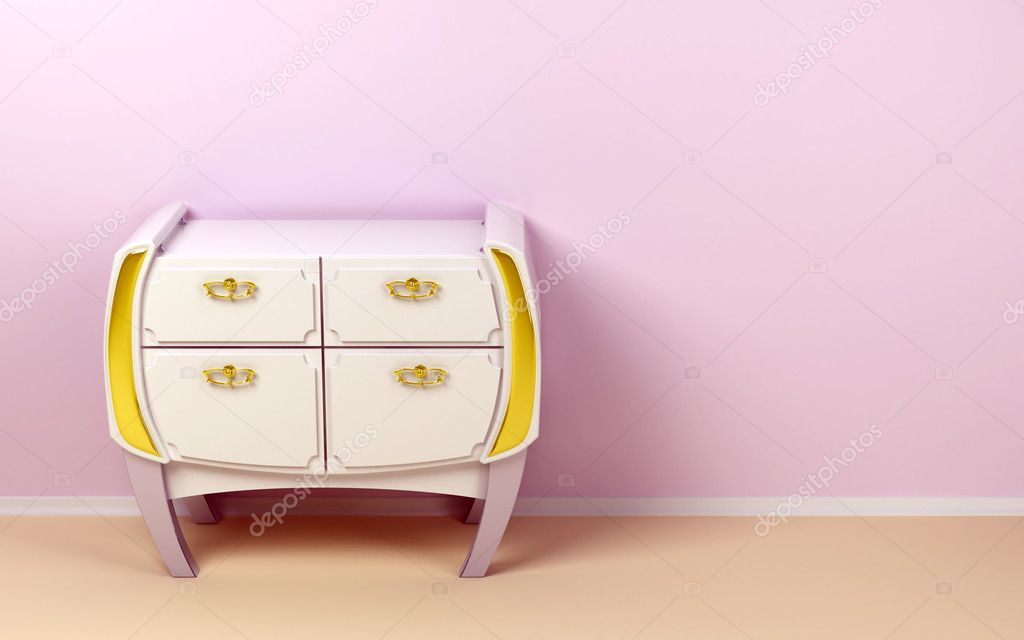 White chest of drawers in a mixed style, classic and futuristic — Stock Photo #10141827