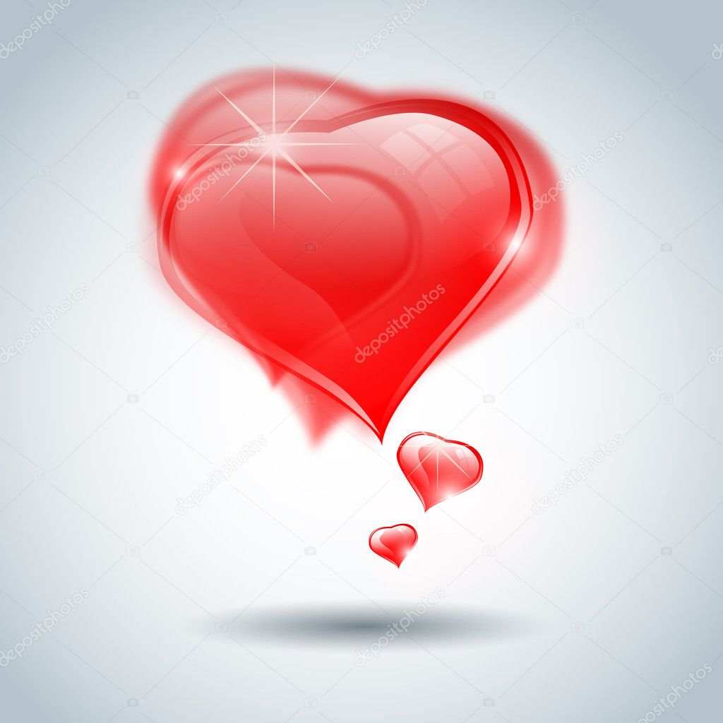 Gray-blue background with group of red, transparent, rubby, crystall hearts for st. Valentines Day — Stock Photo #8339988