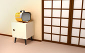 Japanese backdrop with retro tv — Stock Photo