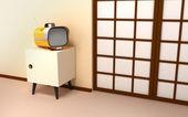 Sfondo giapponese con tv retrò — Foto Stock