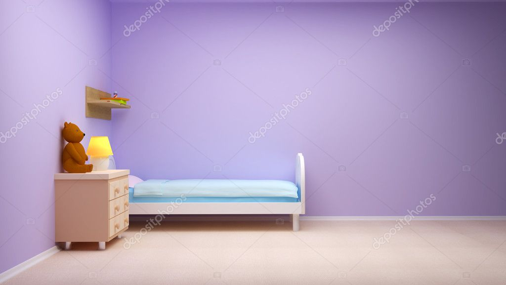 Baby's bedroom with commode and bear. Pastel colors, empty room — Stock Photo #9905536