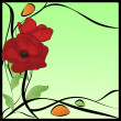 Original art nouveau frame with poppies — Stock Vector
