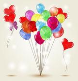 Kleurrijke achtergrond met verschillende soorten ballonnen — Stockvector