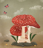 Mushrooms family — Stock Photo