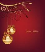 Christmas postcard with gold christmas balls — Stok Vektör