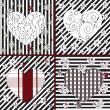 colección de corazones artística — Vector de stock