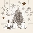 Hand drawn christmas scene — Stock Vector