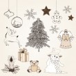 Hand drawn christmas elements — Stock Vector