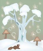 Amor de invierno - ilustración de hadas de invierno — Vector de stock