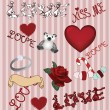 Collection of valentine's doodles — Stock Vector