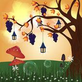 Fantasy autumn hill — Stock Vector