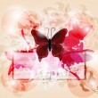 Grunge invitation card with big butterfly and light games - Image vectorielle